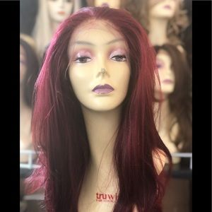 COPY - Long Red Wine FreePart Transparent Lacefro…